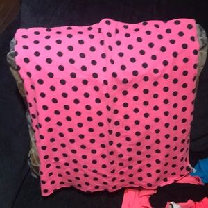 Tops - Neon pink with black polka dots tube top